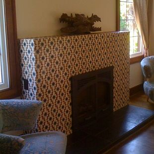 Seamless patterned fireplace
